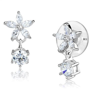 3W1281 - Rhodium Brass Earrings with AAA Grade CZ  in Clear