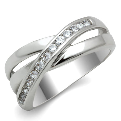 3W128 - Rhodium Brass Ring with AAA Grade CZ  in Clear