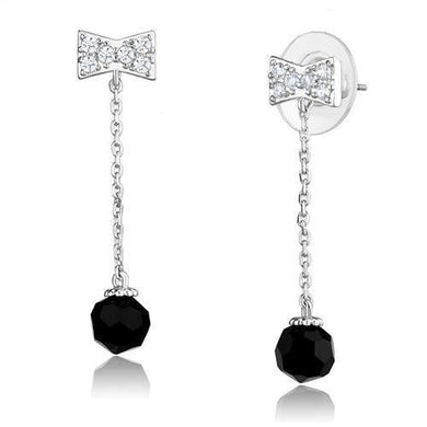 3W1300 - Rhodium Brass Earrings with AAA Grade CZ  in Clear