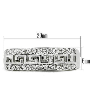 3W130 - Rhodium Brass Ring with AAA Grade CZ  in Clear
