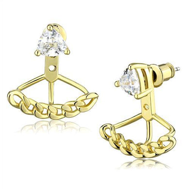 3W1313 - Gold Brass Earrings with AAA Grade CZ  in Clear