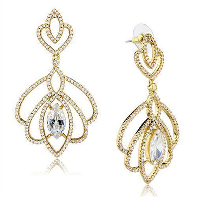 3W1324 - Gold Brass Earrings with AAA Grade CZ  in Clear