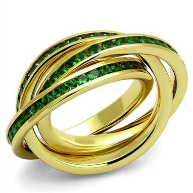 3W1327 - Gold Brass Ring with Synthetic Synthetic Glass in Emerald