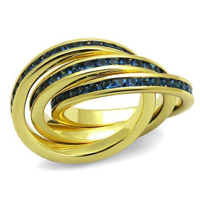 3W1329 - Gold Brass Ring with Synthetic Synthetic Glass in Montana