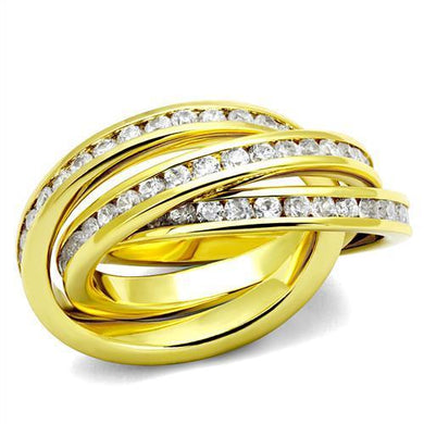 3W1330 - Gold Brass Ring with AAA Grade CZ  in Clear