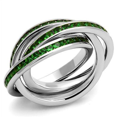 3W1332 - Rhodium Brass Ring with Synthetic Synthetic Glass in Emerald