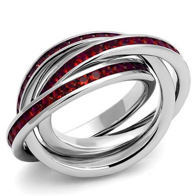 3W1333 - Rhodium Brass Ring with Synthetic Synthetic Glass in Siam