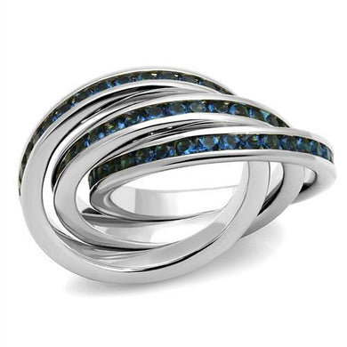 3W1334 - Rhodium Brass Ring with Synthetic Synthetic Glass in Montana