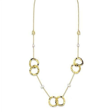 3W1335 - Gold Brass Necklace with AAA Grade CZ  in Citrine Yellow