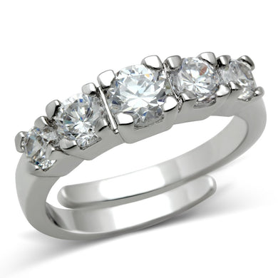 3W134 - Rhodium Brass Ring with AAA Grade CZ  in Clear