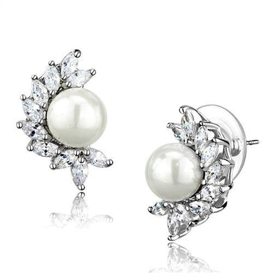 3W1354 - Rhodium Brass Earrings with Synthetic Pearl in White