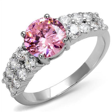 3W1361 - Rhodium Brass Ring with AAA Grade CZ  in Rose