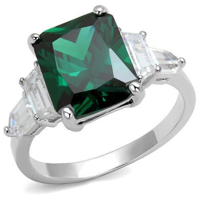 3W1363 - Rhodium Brass Ring with Synthetic Spinel in Emerald
