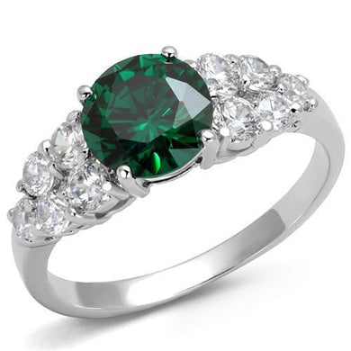 3W1364 - Rhodium Brass Ring with Synthetic Spinel in Emerald