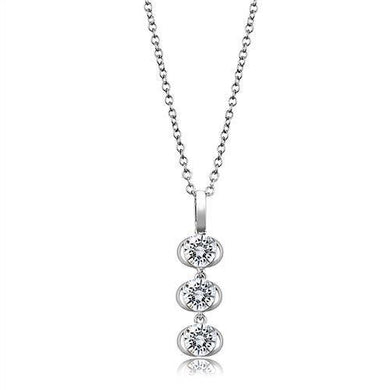 3W1373 - Rhodium 925 Sterling Silver Chain Pendant with AAA Grade CZ  in Clear