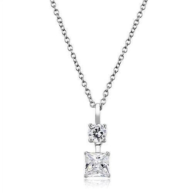 3W1374 - Rhodium 925 Sterling Silver Chain Pendant with AAA Grade CZ  in Clear