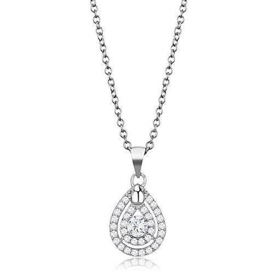 3W1376 - Rhodium 925 Sterling Silver Chain Pendant with AAA Grade CZ  in Clear