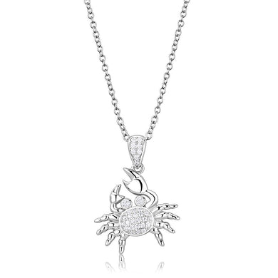 3W1377 - Rhodium 925 Sterling Silver Chain Pendant with AAA Grade CZ  in Clear