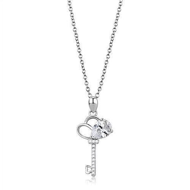 3W1380 - Rhodium 925 Sterling Silver Chain Pendant with AAA Grade CZ  in Clear