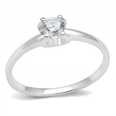3W1385 - Rhodium 925 Sterling Silver Ring with AAA Grade CZ  in Clear