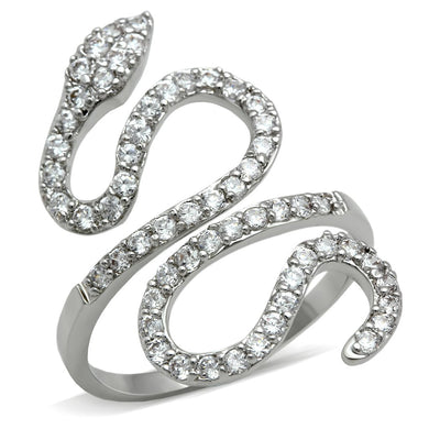 3W138 - Rhodium Brass Ring with AAA Grade CZ  in Clear