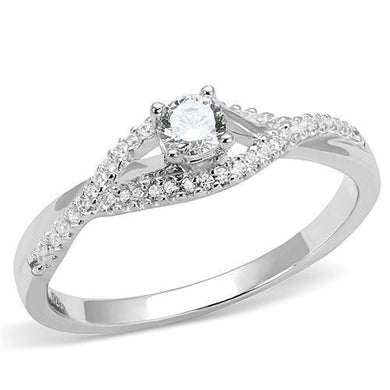 3W1390 - Rhodium 925 Sterling Silver Ring with AAA Grade CZ  in Clear
