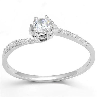 3W1392 - Rhodium 925 Sterling Silver Ring with AAA Grade CZ  in Clear