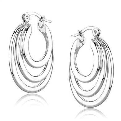 3W1394 - Rhodium Brass Earrings with No Stone