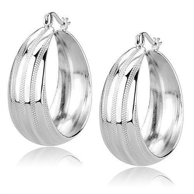 3W1396 - Rhodium Brass Earrings with No Stone
