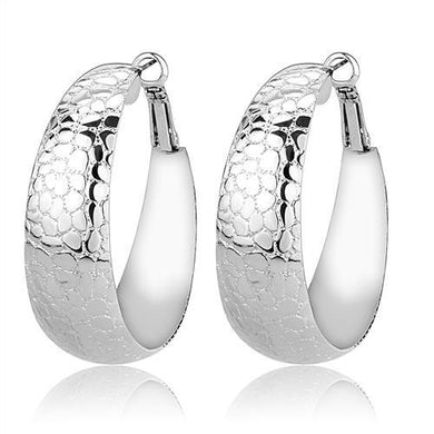 3W1397 - Rhodium Brass Earrings with No Stone