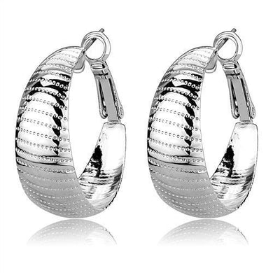 3W1399 - Rhodium Brass Earrings with No Stone