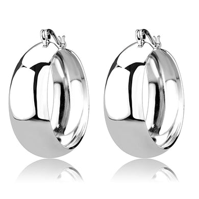3W1400 - Rhodium Brass Earrings with No Stone