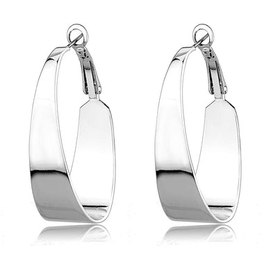3W1403 - Rhodium Brass Earrings with No Stone