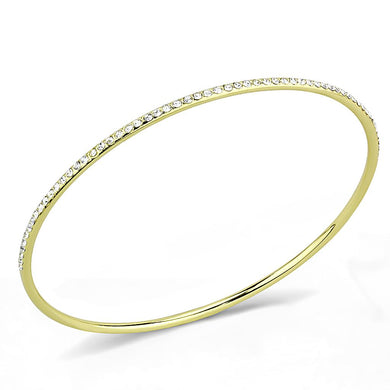 3W1406 - Gold Brass Bangle with Top Grade Crystal  in Clear