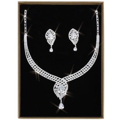 3W1415 - Rhodium Brass Jewelry Sets with AAA Grade CZ  in Clear