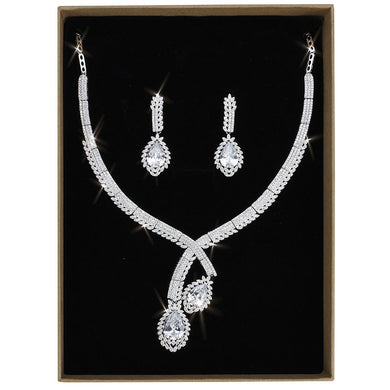 3W1416 - Rhodium Brass Jewelry Sets with AAA Grade CZ  in Clear