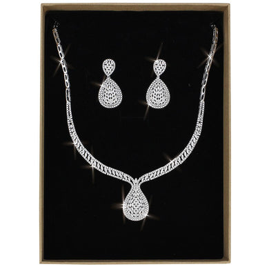 3W1417 - Rhodium Brass Jewelry Sets with AAA Grade CZ  in Clear