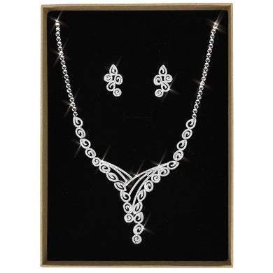 3W1419 - Rhodium Brass Jewelry Sets with AAA Grade CZ  in Clear