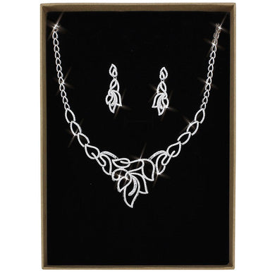 3W1420 - Rhodium Brass Jewelry Sets with AAA Grade CZ  in Clear