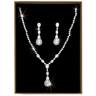 3W1422 - Rhodium Brass Jewelry Sets with AAA Grade CZ  in Clear