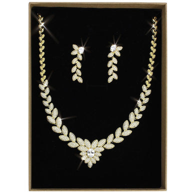 3W1425 - Gold Brass Jewelry Sets with AAA Grade CZ  in Clear