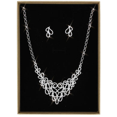 3W1426 - Rhodium Brass Jewelry Sets with AAA Grade CZ  in Clear