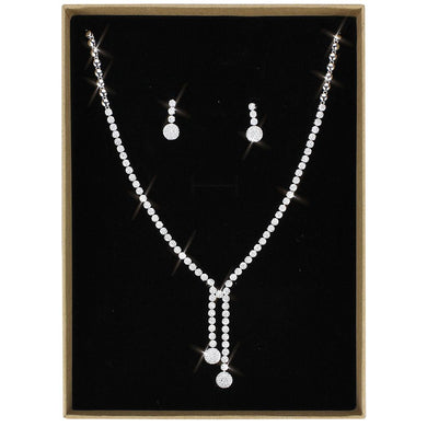 3W1428 - Rhodium Brass Jewelry Sets with AAA Grade CZ  in Clear