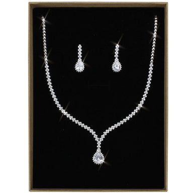 3W1430 - Rhodium Brass Jewelry Sets with AAA Grade CZ  in Clear