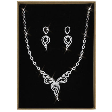 3W1431 - Rhodium Brass Jewelry Sets with AAA Grade CZ  in Clear
