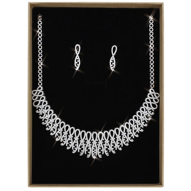 3W1432 - Rhodium Brass Jewelry Sets with AAA Grade CZ  in Clear