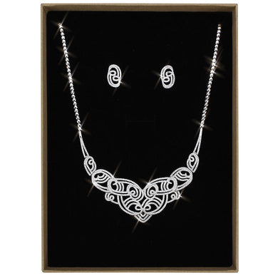 3W1433 - Rhodium Brass Jewelry Sets with AAA Grade CZ  in Clear