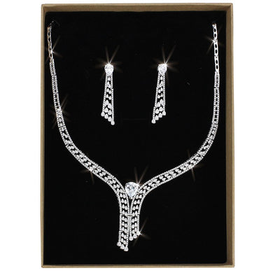 3W1434 - Rhodium Brass Jewelry Sets with AAA Grade CZ  in Clear