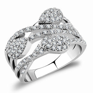 3W1446 - Rhodium Brass Ring with AAA Grade CZ  in Clear
