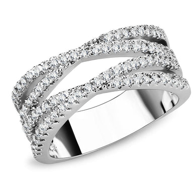 3W1450 - Rhodium Brass Ring with AAA Grade CZ  in Clear